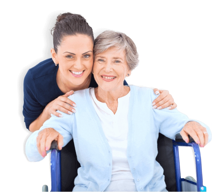 female caregiver and her old woman patient sitting on the wheelchair
